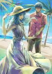 1boy 1girl :d alternate_costume beach black_hair blue_eyes blue_hair blue_sky brown_pants caster clouds commentary_request couple day dress fate/stay_night fate_(series) glasses hat head_in_hand kara413 kuzuki_souichirou long_hair ocean open_mouth palm_tree pants pink_shirt shirt sky sleeveless sleeveless_dress smile sun_hat tree white_dress