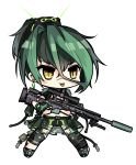 1girl bangs black_shorts blush_stickers brown_eyes chibi danielle_brindle eyebrows_visible_through_hair facial_scar full_body girls_frontline gloves green_footwear green_gloves green_hair gun hair_between_eyes hair_ornament highres holding holding_gun holding_weapon knee_pads multicolored_hair navel nose_scar original ponytail rifle scar shoes short_shorts short_sleeves shorts simple_background slit_pupils sniper_rifle sniper_scope solo standing suppressor trigger_discipline two-tone_hair weapon white_background xm2010