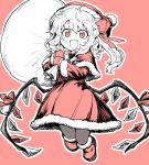 1girl absurdres alternate_costume alternate_headwear bangs bell boots bow capelet carrying christmas_ornaments commentary fang flandre_scarlet fur-trimmed_boots fur-trimmed_capelet fur-trimmed_dress fur-trimmed_gloves fur-trimmed_hat fur-trimmed_sleeves fur_trim gift_bag gloves hair_between_eyes hair_bow hands_up happy hat highres holding holding_sack jumping oninamako open_mouth outline partially_colored pink_background pink_bow pink_ribbon pink_santa_costume pointy_ears red_capelet red_eyes red_footwear red_headwear ribbon sack santa_boots santa_costume santa_gloves santa_hat short_hair_with_long_locks slit_pupils solo touhou wing_ribbon