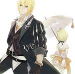 1boy 1girl bangs belt black_belt black_coat black_gloves black_jacket black_pants black_ribbon blonde_hair blue_eyes bracelet brother_and_sister choker closed_mouth coat cowboy_shot dress dress_shirt edna_(tales) eizen_(tales) flower gloves hair_between_eyes hair_ribbon holding holding_umbrella isa_(peien516) jacket jewelry long_sleeves off_shoulder open_clothes open_coat orange_dress orange_ribbon pants ribbon ribbon_choker rose shirt short_dress short_hair shoulder_blades siblings side_ponytail simple_background sleeveless sleeveless_dress standing tales_of_(series) tales_of_berseria tales_of_zestiria two-tone_dress umbrella vertical-striped_jacket white_background white_dress white_flower white_rose white_shirt white_umbrella