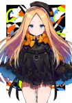 1girl abigail_williams_(fate/grand_order) alternate_costume bangs beret black_bow black_dress black_headwear blonde_hair blue_eyes bow bug butterfly closed_mouth commentary_request dress fate/grand_order fate_(series) forehead hat hayama_eishi insect keyhole long_hair long_sleeves looking_at_viewer orange_bow parted_bangs sleeves_past_fingers sleeves_past_wrists solo tilted_headwear very_long_hair
