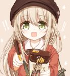 1girl :d bag bangs blush brown_background brown_headwear brown_sweater cabbie_hat collared_shirt eyebrows_visible_through_hair food green_eyes hair_between_eyes hat holding holding_food light_brown_hair long_hair long_sleeves looking_at_viewer open_mouth original pocky shirt simple_background sleeves_past_wrists smile solo star sweater upper_body white_shirt yuuhagi_(amaretto-no-natsu)