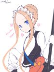 1girl :o abigail_williams_(fate/grand_order) bangs black_dress blonde_hair blue_eyes blush braid butterfly_hair_ornament commentary_request dated dress eyebrows_visible_through_hair fate/grand_order fate_(series) forehead hair_bun hair_ornament heroic_spirit_festival_outfit holding kuzumochi_(kuzumochiya) long_hair long_sleeves parted_bangs parted_lips shirt sidelocks signature simple_background sleeveless sleeveless_dress sleeves_past_fingers sleeves_past_wrists solo stuffed_animal stuffed_toy teddy_bear very_long_hair white_background white_shirt