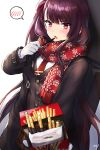 1girl :o black_coat blush brown_skirt coat cowboy_shot eating enpera food girls_frontline gloves hair_ribbon highres holding holding_food long_hair long_sleeves looking_at_viewer necktie noixen open_clothes open_coat open_mouth pink_ribbon plaid plaid_skirt pov print_scarf purple_hair red_neckwear red_scarf ribbon scarf side_ponytail signature skirt snowflake_print solo speech_bubble spoken_blush unbuttoned v-shaped_eyebrows very_long_hair violet_eyes wa2000_(girls_frontline) weapon_bag white_gloves