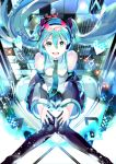 119 1girl :d black_legwear black_sleeves blue_eyes blue_hair blue_nails collared_shirt detached_sleeves floating_hair hair_between_eyes hair_ornament hatsune_miku headphones headset highres long_hair long_sleeves looking_at_viewer nail_polish open_mouth shirt sitting sleeveless sleeveless_shirt smile solo sparkle very_long_hair vocaloid white_shirt wing_collar
