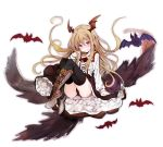 1girl absurdres bat bat_wings black_legwear black_panties black_skirt blonde_hair blush boots breasts collared_shirt fang frilled_skirt frills granblue_fantasy hair_between_eyes head_wings highres knee_boots long_hair long_sleeves looking_at_viewer panties pointy_ears red_eyes red_wings shadowverse shingeki_no_bahamut shirt simple_background skirt small_breasts solo sweat tatsuhiko underwear vampire vampy white_background white_shirt wings