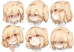 1girl :d anger_vein bags_under_eyes bangs blonde_hair blush commentary crying crying_with_eyes_open expressions eyebrows_visible_through_hair fang flandre_scarlet gotoh510 hair_between_eyes hand_up head_tilt heart highres looking_at_viewer multiple_views no_hat no_headwear one_side_up open_mouth pointy_ears red_eyes short_hair sidelocks simple_background smile symbol_commentary tears touhou v-shaped_eyebrows white_background