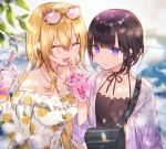 2girls bag bangs bare_shoulders black_hair black_ribbon blonde_hair blunt_bangs blush bob_cut bubble_tea camisole choker closed_eyes collarbone commentary_request cup disposable_cup dress drink drinking_straw eyewear_on_head fangs floral_print hair_between_eyes halterneck highres holding holding_cup idolmaster idolmaster_cinderella_girls jacket jewelry key_necklace kurosaki_chitose light_particles long_hair looking_at_another multiple_girls necklace nekoremon object_on_breast off-shoulder_dress off_shoulder open_clothes open_jacket open_mouth outdoors ribbon ribbon_choker shirayuki_chiyo short_hair shoulder_bag smile sunlight upper_body velvet_rose very_long_hair violet_eyes yuri