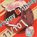 1boy bangs brown_jacket dated drawstring eyebrows_visible_through_hair full_body grey_pants grin hair_between_eyes hand_in_pocket happy_birthday highres jacket kuzuha_(nijisanji) long_sleeves male_focus nijisanji no_shoes pants red_eyes red_wings signature silver_hair smile socks sofra solo upside-down virtual_youtuber wings