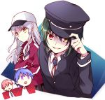1girl 3boys angel_beats! bangs baseball_cap black_headwear blue_background blue_eyes bolo_tie chibi crossed_arms evil_smile eyebrows_visible_through_hair green_hair harmonia hat heterochromia hinata_(angel_beats!) holding holding_hat hypnosis jacket long_hair long_sleeves looking_at_viewer mind_control multiple_boys naoi_ayato necktie no_eyes open_mouth otonashi_(angel_beats!) red_eyes red_jacket redhead school_uniform shinda_sekai_sensen_uniform shirt short_hair silver_hair simple_background smile square_mouth square_pupils sweatdrop tenshi_(angel_beats!) white_shirt yellow_eyes