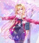 1girl bag black_serafuku blonde_hair cardigan cherry_blossoms chromatic_aberration commentary_request cowboy_shot eyebrows_visible_through_hair fangs hair_between_eyes hairband highres idolmaster idolmaster_cinderella_girls kurosaki_chitose light_particles long_hair long_sleeves looking_at_viewer neckerchief nekoremon open_cardigan open_clothes open_mouth outstretched_arms pantyhose pleated_skirt red_cardigan red_eyes red_neckwear school_uniform serafuku shoulder_bag skirt sleeves_past_wrists smile solo spread_arms sunlight tree very_long_hair
