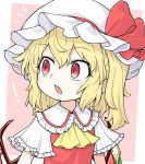 ! /\/\/\ 1girl :o ascot bangs blonde_hair blush border bow commentary_request crystal eyebrows_visible_through_hair fang flandre_scarlet frilled_shirt_collar frilled_sleeves frills hair_between_eyes hat hat_bow hat_ribbon highres looking_to_the_side mob_cap oninamako open_mouth pink_background red_bow red_eyes red_vest ribbon shiny shiny_hair shirt short_sleeves side_ponytail slit_pupils solo surprised touhou upper_body vest white_border white_shirt wide_sleeves wings yellow_neckwear