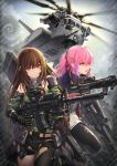 aircraft ar-15 arm_strap armor assault_rifle asymmetrical_pants baek_hyang bangs black_gloves black_legwear black_pants blue_eyes breasts brown_eyes brown_hair city closed_mouth clouds cloudy_sky detached_sleeves dress dual_wielding finger_on_trigger floating_hair gas_mask girls_frontline glint gloves green_hair green_sweater gun hair_between_eyes helicopter high_collar holding holding_gun holding_weapon jacket long_hair looking_at_viewer m4_carbine m4a1_(girls_frontline) magazine_(weapon) mod3_(girls_frontline) multicolored_hair multiple_girls open_clothes open_jacket open_mouth outdoors pants pantyhose pink_hair ponytail pouch ribbed_sweater rifle running sidelocks sky snap-fit_buckle st_ar-15_(girls_frontline) streaked_hair suppressor sweater sweater_vest thigh_strap weapon weapon_bag wind