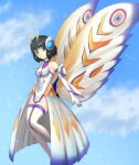 1girl absurdres antennae armor black_hair blue_eyes blue_sky breasts bug claws clouds commentary crossover eternal_mothra godzilla_(series) green_eyes highres insect insect_wings kohinata_miku kusunotaiboku large_wings medium_breasts monster moth moth_girl moth_wings mothra senki_zesshou_symphogear senki_zesshou_symphogear_xd_unlimited short_hair sky smile symphogear_pendant wings x-drive_(symphogear)
