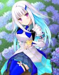 1girl animal armband bangs bird blue_flower blue_hair blue_legwear blue_neckwear blue_skirt blunt_bangs blurry blurry_background blush breasts closed_mouth commentary_request depth_of_field dress duck eyebrows_visible_through_hair flower hair_ornament head_tilt highres lize_helesta long_hair looking_at_viewer misui monocle multicolored_hair nijisanji pleated_skirt purple_flower safety_pin sebastian_piyodore sidelocks skirt small_breasts smile thigh-highs two-tone_hair very_long_hair violet_eyes virtual_youtuber white_dress white_hair