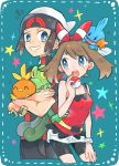 1boy 1girl bangs bare_shoulders beanie belt bike_shorts black_eyes blue_background blush bracelet breasts brown_hair closed_eyes closed_mouth cropped_legs crossed_arms eye_contact eyebrows_visible_through_hair gen_3_pokemon grey_eyes hairband hand_up happy haruka_(pokemon) hat heart highres holding holding_poke_ball jewelry looking_at_another mudkip musical_note nago_celica notice_lines open_mouth poke_ball poke_ball_(generic) pokemon pokemon_(creature) pokemon_(game) pokemon_oras red_hairband red_shirt shiny shiny_hair shirt short_hair short_shorts short_sleeves shorts simple_background sleeveless sleeveless_shirt small_breasts smile standing star teeth torchic treecko white_headwear white_shorts yellow_sclera yuuki_(pokemon) zipper_pull_tab