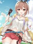 1girl :d atelier_(series) atelier_ryza bangs bare_shoulders belt belt_buckle beret black_ribbon blue_belt blue_sky blush breasts brown_belt brown_eyes brown_gloves brown_hair buckle clouds cloudy_sky collarbone commentary_request day drawstring eyebrows_visible_through_hair gloves hair_between_eyes hair_ornament hairclip hand_up hat highres holding hood hood_down hooded_jacket jacket jewelry medium_breasts mizu_(lzzrwi603) navel necklace open_clothes open_jacket open_mouth outdoors puffy_short_sleeves puffy_sleeves red_shorts reisalin_stout ribbon round-bottom_flask shirt short_shorts short_sleeves shorts sidelocks single_glove sky sleeveless sleeveless_jacket smile solo star star_necklace thigh-highs thigh_gap upper_teeth vial white_headwear white_legwear white_shirt yellow_jacket