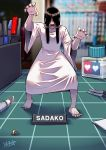 1girl barefoot black_hair black_nails desk hair_over_eyes highres long_hair marker model_kit open_mouth pen ryuusei_(mark_ii) screw solo the_ring tweezers very_long_hair yamamura_sadako