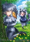 2girls :d animal_ears arm_up bangs belt bird_tail black_bow black_footwear black_gloves black_hair black_neckwear black_skirt blue_sweater bodystocking bow bowtie breast_pocket brown_eyes bug butterfly chibi closed_mouth collared_shirt common_raccoon_(kemono_friends) company_name copyright day expressionless extra_ears eyebrows_visible_through_hair fang fingerless_gloves flower fur_collar gloves grass green_eyes grey_hair grey_neckwear grey_shirt grey_shorts hair_between_eyes hand_up insect kemono_friends kneeling lain long_hair long_sleeves looking_at_another low_ponytail medium_hair miniskirt multicolored_hair multiple_girls necktie open_mouth orange_hair outdoors outstretched_arms pocket raccoon_ears raccoon_tail running shirt shoebill_(kemono_friends) shoes short_over_long_sleeves short_sleeve_sweater short_sleeves shorts side_ponytail sidelocks skirt smile striped striped_tail sweater tail tree white_hair wing_collar