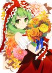 1girl bangs bare_shoulders blue_ribbon blunt_bangs bouquet bow closed_mouth commentary_request cowboy_shot detached_sleeves dress eyebrows_visible_through_hair flower flower_request frilled_bow frilled_sleeves frills from_side green_eyes green_hair hair_bow highres holding holding_bouquet kagiyama_hina leaf long_hair looking_at_viewer looking_to_the_side nomu orange_flower orange_rose pinecone pink_flower red_bow red_dress ribbon rose short_sleeves smile solo touhou yellow_flower yellow_rose
