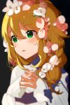 1girl bangs black_background blonde_hair blush commentary_request eyebrows_visible_through_hair flower flowre green_eyes hair_between_eyes hair_flower hair_ornament hands_together highres hoshii_miki idolmaster idolmaster_million_live! idolmaster_million_live!_theater_days long_hair naijow open_mouth pink_flower simple_background smile solo