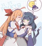 2girls :d ^_^ ahoge animal_ears bangs black_hair blush_stickers braid breasts brown_hair brown_skirt cat_ears cat_girl cat_tail closed_eyes closed_mouth commentary_request dated eyebrows_visible_through_hair food food_in_mouth green_eyes grey_apron hair_ribbon hands_on_another's_shoulders imagining kyaru_(princess_connect) long_hair long_sleeves low_twintails medium_breasts mouth_hold multicolored_hair multiple_girls open_mouth pecorine pocky pocky_day princess_connect! princess_connect!_re:dive profile puffy_short_sleeves puffy_sleeves purple_skirt red_ribbon ribbon shadowsinking shirt short_over_long_sleeves short_sleeves skirt smile streaked_hair suspender_skirt suspenders tail thought_bubble trembling turn_pale twintails very_long_hair wavy_mouth white_hair white_shirt