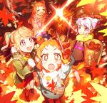 +_+ 4girls :d :o :p aikatsu! aikatsu!_(series) aikatsu_on_parade! aikatsu_stars! apple apple_hair_ornament arisugawa_otome arm_up autumn autumn_leaves bangs bell blunt_bangs blush boots bow clenched_hands coat commentary_request crying denim double_bun falling_leaves fang food food_themed_hair_ornament from_above fruit fur-trimmed_jacket fur_trim gloves hair_bow hair_ornament hanazono_kirara highres jacket jeans jingle_bell leaf lens_flare light_blue_hair light_brown_hair long_hair looking_at_viewer maple_leaf multicolored_hair multiple_girls natsuki_mikuru open_mouth orange_hair pants pink_hair saotome_ako scarf short_hair sitting skin_fang smile smiley_face star star_hair_ornament streaked_hair sweater symbol-shaped_pupils t_t tears tongue tongue_out translation_request turtleneck turtleneck_sweater two_side_up upper_teeth v-shaped_eyebrows wariza wattaro