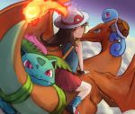1girl blue_(pokemon) blue_eyes blue_shirt brown_eyes brown_hair charizard closed_mouth clouds commentary fang fang_out fiery_tail flying from_behind gen_1_pokemon hat ippers ivysaur leg_warmers long_hair looking_at_viewer looking_back miniskirt outdoors pink_eyes pleated_skirt pokemon pokemon_(creature) pokemon_(game) pokemon_frlg red_skirt shirt skirt sleeveless sleeveless_shirt smile squirtle sun_hat super_smash_bros. sweatband tail white_headwear