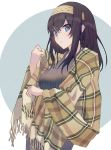 1girl absurdres black_hair blue_eyes blush commentary_request grey_sweater hair_between_eyes hairband highres idolmaster idolmaster_cinderella_girls long_hair looking_at_viewer parted_lips plaid plaid_shawl ribbed_sweater sagisawa_fumika shawl solo sweater two-tone_background upper_body yomizu