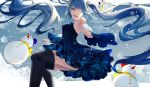 1girl ;d absurdly_long_hair akito_(d30n26) bangs black_legwear blue_dress blue_eyes blue_hair blue_sleeves detached_sleeves dress floating_hair gradient_sleeves hatsune_miku highres long_hair long_sleeves one_eye_closed open_mouth outdoors short_dress sleeveless sleeveless_dress smile snow snowflakes snowman solo swept_bangs thigh-highs very_long_hair vocaloid white_sleeves zettai_ryouiki