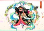 1girl aqua_eyes aqua_hair black_kimono floral_print flower hair_flower hair_ornament hatsune_miku highres japanese_clothes kimono kyoto long_hair obi sandals sash skarameru twintails very_long_hair vocaloid