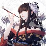 1girl bare_shoulders black_hair detached_collar final_fantasy final_fantasy_xiv flower green_eyes hair_flower hair_ornament highres holding holding_pipe japanese_clothes kimono lips lipstick long_hair lyra-kotto makeup nail_polish obi pipe red_lipstick red_nails sash smoke solo spider_lily upper_body yotsuyu_(ff14)