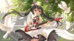 1girl 2019 :d aliter artist_name bangs bird birthday black_choker black_hair blush castle character_name choker cowboy_shot crown day dove dress electric_guitar feathers frilled_dress frills guitar highres instrument k-on! long_hair looking_at_viewer music nakano_azusa open_mouth outdoors playing_instrument ribbon ribbon_choker sidelocks sleeveless sleeveless_dress smile solo striped striped_neckwear striped_ribbon tree twintails very_long_hair white_dress yellow_eyes