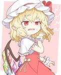 1girl bangs blonde_hair border bow buttons capelet collar commentary_request cowboy_shot crystal disdain disgust dress_bow eyebrows_visible_through_hair fang flandre_scarlet frilled_capelet frilled_collar frilled_shirt_collar frills frown grimace hair_between_eyes hairstyle_request hand_up hat hat_bow hat_ribbon highres mob_cap nail_polish oninamako open_mouth pink_background red_bow red_eyes red_nails red_skirt red_vest ribbon short_hair sidelocks simple_background skirt skirt_set solo touhou vest white_border white_headwear wings yellow_bow yellow_ribbon