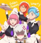 4girls anger_vein blue_hair braid brown_eyes closed_mouth crown_braid cup fire_emblem fire_emblem:_three_houses hair_ornament highres hilda_valentine_goneril holding holding_plate jacinth_peters leonie_pinelli long_hair long_sleeves lysithea_von_ordelia maid maid_headdress marianne_von_edmund multiple_girls open_mouth pink_eyes pink_hair plate red_eyes redhead simple_background teacup white_hair yellow_background