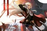 1girl axe bird cravat edelgard_von_hresvelg feathers fire_emblem fire_emblem:_three_houses flag garreg_mach_monastery_uniform gloves hair_ribbon highres james_ghio legwear_under_shorts lens_flare long_hair looking_at_viewer pantyhose planted_weapon red_legwear ribbon shorts silver_hair solo standing sunlight very_long_hair weapon white_gloves