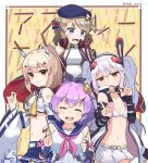 4girls animal_ears ayanami_(azur_lane) azur_lane bangs belt bikini_top blue_eyes blue_sailor_collar bracelet brown_hair coat crop_top cross_hair_ornament crown detached_sleeves eating fake_animal_ears food hair_ornament hairband headgear headphones headphones_around_neck high_ponytail highres holding holding_food holding_pocky javelin_(azur_lane) jewelry laffey_(azur_lane) light_brown_hair long_hair looking_at_viewer mini_crown miniskirt multiple_girls navel neckerchief open_clothes open_coat open_mouth orange_eyes pleated_skirt pocky pocky_day ponytail purple_hair rabbit_ears red_eyes retrofit_(azur_lane) sailor_collar short_hair skirt sleeveless sleeveless_coat smile sweatdrop tsukino_(nakajimaseiki) twintails twitter_username v white_belt white_bikini_top white_hair white_skirt yellow_neckwear z23_(azur_lane)