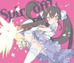 1girl bangs bare_shoulders black_hair blade_(galaxist) blue_ribbon blue_skirt blush brown_eyes closed_mouth commentary_request english_text eyebrows_visible_through_hair firing gloves gun hair_between_eyes hair_ribbon holding holding_gun holding_weapon idolmaster idolmaster_cinderella_girls knee_up long_hair matoba_risa panties pink_background ribbon shirt shotgun simple_background skirt solo star thigh-highs tiara twintails underwear very_long_hair weapon weapon_request white_gloves white_legwear white_panties white_ribbon white_shirt