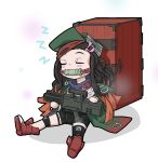 1girl absurdres artist_request assault_rifle bit_gag boots box closed_eyes cosplay g11_(girls_frontline) g11_(girls_frontline)_(cosplay) gag girls_frontline gun h&k_g11 hat highres jacket kamado_nezuko kimetsu_no_yaiba rifle sleeping solo weapon