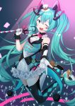 1girl ;d absurdres arm_strap asymmetrical_gloves asymmetrical_legwear bangs black_legwear blue_eyes blue_hair elbow_gloves floating_hair gloves hair_between_eyes hatsune_miku high-waist_skirt highres holding holding_microphone huge_filesize legs_up long_hair looking_at_viewer magical_mirai_(vocaloid) microphone microphone_stand miniskirt one_eye_closed open_mouth rufe_0v0 shiny shiny_hair skirt smile solo thigh-highs very_long_hair vocaloid white_gloves white_legwear white_skirt zettai_ryouiki