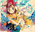 2girls absurdres aqua_shorts bangs beanie black_eyes blank_eyes blonde_hair blue_sky blush blush_stickers brown_hair closed_mouth clouds collarbone coral cosmog day dress eyebrows_visible_through_hair flat_chest floral_print gen_7_pokemon green_eyes hand_up happy hat heart highres holding_hands legendary_pokemon lillie_(pokemon) long_hair looking_at_viewer mizuki_(pokemon) multiple_girls nago_celica notice_lines open_mouth outdoors poke_ball_symbol poke_ball_theme pokemon pokemon_(creature) pokemon_(game) pokemon_sm red_headwear rowlet shirt short_hair short_sleeves shorts sky sleeveless sleeveless_dress smile standing star sun_hat sweat teeth traditional_media water white_dress white_headwear yellow_eyes yellow_shirt