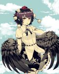 1girl black_hair black_skirt blue_background clouds commentary_request cowboy_shot eyebrows_visible_through_hair feathered_wings finger_to_mouth frills hand_up hat highres looking_at_viewer natsushiro neck_ribbon pointy_ears pom_pom_(clothes) print_skirt red_eyes red_headwear ribbon shameimaru_aya shirt short_hair short_sleeves skirt sky solo spot_color tengu tokin_hat touhou white_shirt wings