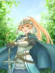 1girl armor armored_dress bangs blonde_hair blue_cape blue_eyes blurry bokeh breastplate cape depth_of_field forte_(rune_factory) gauntlets gloves hand_on_hilt highres knight long_hair outdoors planted_weapon ponytail rkinotsuki01 rune_factory rune_factory_4 smile solo sword tree visor_(armor) weapon