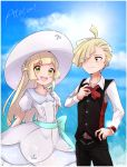 1boy 1girl absurdres belt black_vest blonde_hair blue_sky bow bowtie brother_and_sister closed_mouth clouds day dress eyes_visible_through_hair g_y_k gladio_(pokemon) green_eyes hair_over_one_eye hat highres lillie_(pokemon) long_hair long_sleeves open_mouth pokemon pokemon_(anime) pokemon_sm_(anime) short_hair short_sleeves siblings sky sun_hat vest white_dress white_headwear