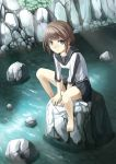 blue_eyes brown_hair creek murata_taichi original rock short_hair sitting sitting_on_rock skirt smile solo stone stream water