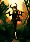 black_hair black_legwear black_rock_shooter brown_hair checkered checkered_floor choker claws dead_master dress green_eyes hime_cut hironox horns leggings long_hair skirt skull wings