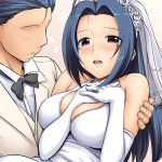 blush breast_squeeze breasts bridal_veil bride dress elbow_gloves faceless faceless_male gloves idolmaster jewelry large_breasts long_hair love miura_azusa no_eyes ring takayaki tears veil wedding_dress