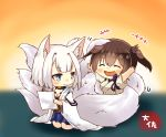2girls animal_ears azur_lane blue_eyes brown_eyes brown_hair chibi eyebrows_visible_through_hair fox_ears fox_tail holding holding_paper japanese_clothes kaga_(azur_lane) kaga_(kantai_collection) kantai_collection kimono kneeling long_hair multiple_girls multiple_tails muneate paper side_ponytail smile tail taisa_(kari) tasuki white_kimono