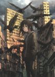 1girl bird black_eyes black_hair black_legwear blurry building city cityscape clouds cloudy_sky crow dark depth_of_field feathers hands_in_pockets highres hood hoodie jacket looking_to_the_side muted_color open_mouth original outdoors pantyhose scenery shorts sky tokunaga_akimasa wind