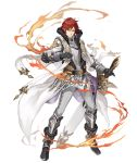 1boy armor armored_boots black_gloves boots breastplate crossover fire full_body fur_trim gloves gold_trim ji_no knight looking_at_viewer official_art re:zero_kara_hajimeru_isekai_seikatsu redhead reinhard_van_astrea reverse_grip sinoalice smile solo sword transparent_background vambraces waist_cape weapon